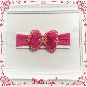 Faixa Infantil de Meia com Laço Real Pink