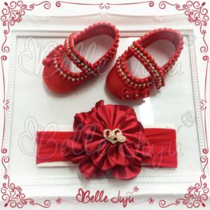 Kit Sapatinho de Bebê Customizado Vermelho + Faixa de Flor