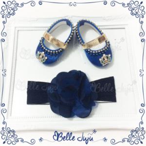 Sapatinho de bebe Customizado Azul com coroa + fita de flor Azul