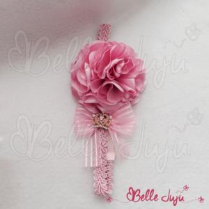 Bandolete Rosa com Flor e Laço