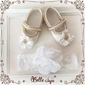Sapatinho de bebe Customizado Branco com Coroa + Fita de Flor