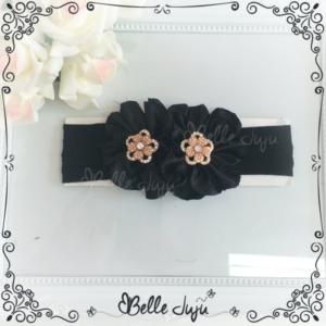 Bandoletes/Fita Infantil 2 flores Preto com Strass