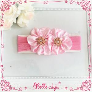 Bandolete/Fita Infantil 2 flores Rosa com Strass