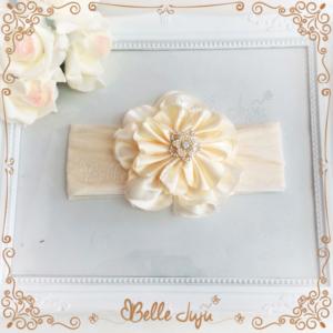 Bandolete/Fita Infantil de Flor Creme